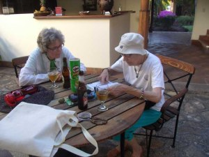 Annabelle and Kathy enjoy a drink after a hard day of sightseeing in Granada.